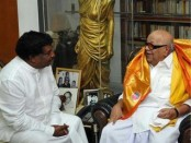 Sri Lankan Minister of State for Plantation and Industry K.Velayutham calls on DMK presidentM. Karunanidhi in Chennai on Sunday. -Photo.M. Moorthy