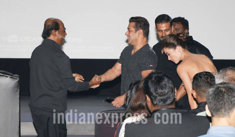 "Salman went on to narrate an incident."" We were once doing a shoot together – jumma chumma. And when I went to the bathroom, Rajini garu was there throwing a cigarette and catching it with his mouth. I asked him, ""What are you doing?"" He said, ""There is a lot of wind outside. So I am doing it here."" It was an open air concert and very cold and windy outside. So I went backstage to see if Rajini could catch the cigarette with his mouth in one go and he did it in one single shot."" (Source: Photo by Varinder Chawla)"