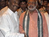 FILE PHOTO: Narendra Modi shakes hand with film star Rajinikanth (L) before addressing an election campaign rally in Chennai April 13, 2014. REUTERS/Babu/File Photo