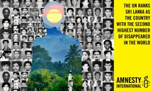 "Images produced to highlight disappearances in Sri Lanka over the past 30 years.  Produced to coincide with Amnesty International's ""Silenced Shadows"", a poetry competition on disappearances in Sri Lanka. Full details: http://join.amnesty.org//ea-campaign/action.retrievestaticpage.do?ea_static_page_id=4326 Text reads: The UN ranks Sri Lanka as the country with the second highest number of disappeared in the world."