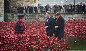 The prime minister David Cameron and his wife, Samantha, at the Tower of London