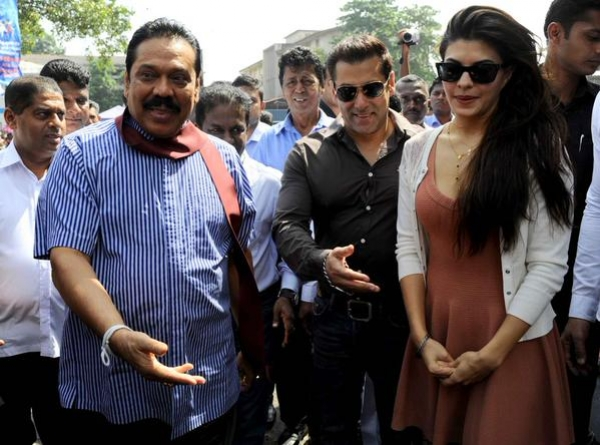 Bollywood superstars Salman khan and Jacqueline Fernandez were seen with Presdient Mahinda Rajapaksa at the UPFA Borella rally a short while ago.