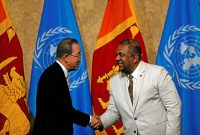 "United Nations Secretary-General Ban Ki-moon (L) shakes hands with Sri Lanka's Minister of Foreign Affairs Mangala Samaraweera at the ""Sustaining Peace - Achieving Sustainable Development Goals"" forum during an official visit in Colombo, Sri Lanka September 2, 2016. Photo: REUTERS"