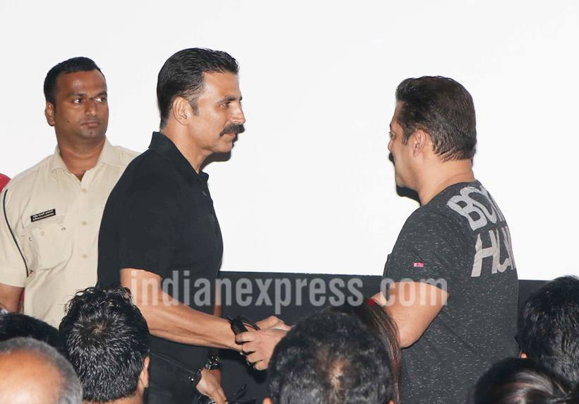 """Addressing the legend as Rajini garu, Salman said, """"I just wanted to see Rajini garu. He is the most amazing man. I have a lot of respect for him. I wasn't invited but got to know about the launch and came here."""" (Source: Photo by Varinder Chawla)"""