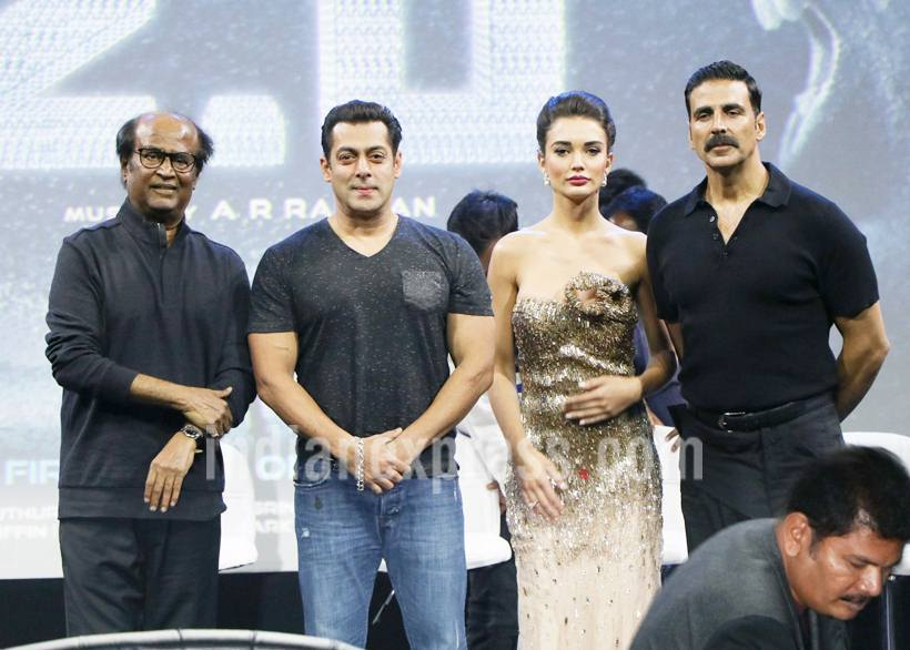 It was a rare occasion when three actors -- Rajinikanth, Akshay Kumar and Salman Khan -- shared the same stage at the launch of S Shankar's 2.0. While the film stars Akshay Kumar as the villain, it was Salman Khan who eventually became the cynosure at the launch. Salman and Rajinikanth share a great rapport and have often praised each other on different platforms. Salman is also often called Bollywood's Rajinikanth. Look at how Salman surprised 2.0 team by his uninvited appearance on the stage. (Source: Photo by Varinder Chawla)