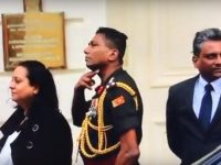 20180204 Army official motions death threat to Tamils protesting in London
